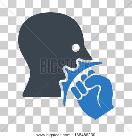 Face Violence Strike icon. Vector illustration style is flat iconic bicolor symbol, smooth blue colors, transparent background. Designed for web and software interfaces.