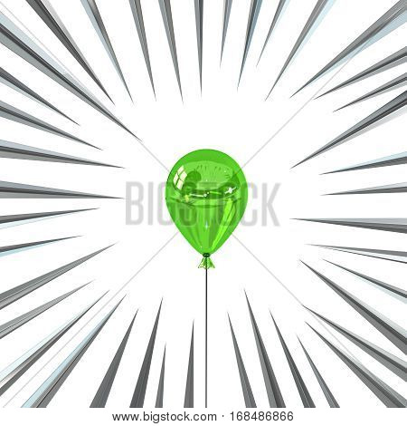 Color party balloon with sharp spikes, 3d illustration, square, over white