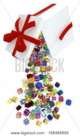 Gift large group 3d illustration, big box drop, vertical, over white