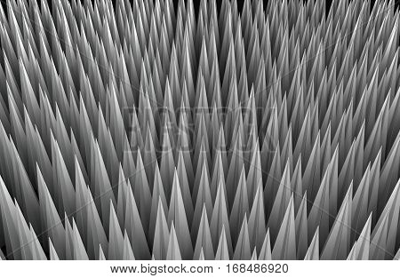 Metal spikes screen fill background, 3d illustration, horizontal