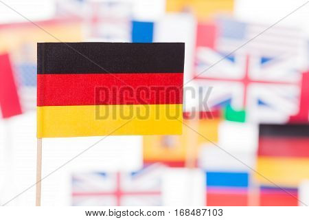 Close-up picture of German flag against European Union member-states flags