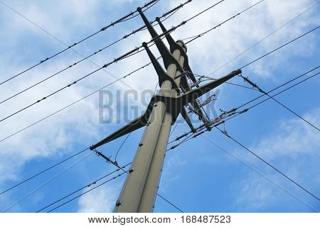 voltage power pole and blue sky