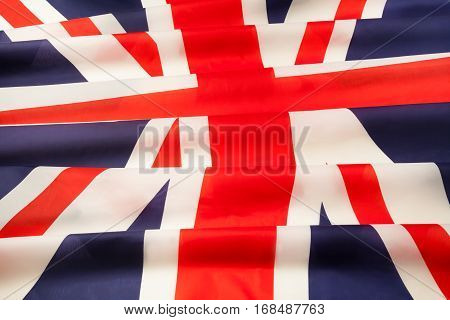 Full framed silky pleated flag of Great Britain close-up