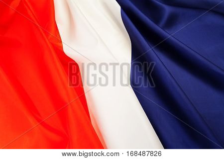 Full framed silky pleated national flag of France