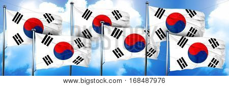 South korea flags, 3D rendering, on a cloud background