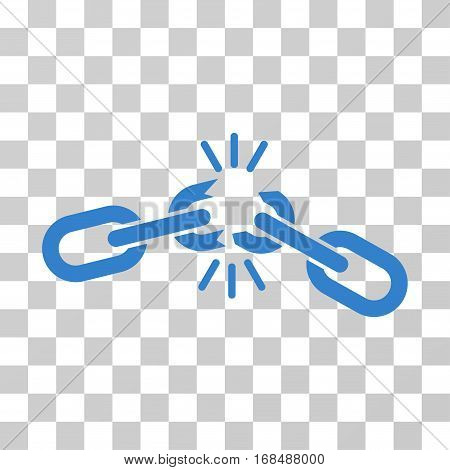Chain Damage icon. Vector illustration style is flat iconic symbol, cobalt color, transparent background. Designed for web and software interfaces.