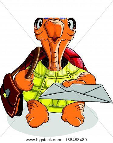 Funny turtle postman holding a letter, illustration