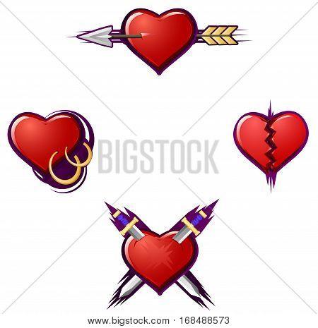 Valentine cartoon broken heart icon set, vector illustration, isolated, over white