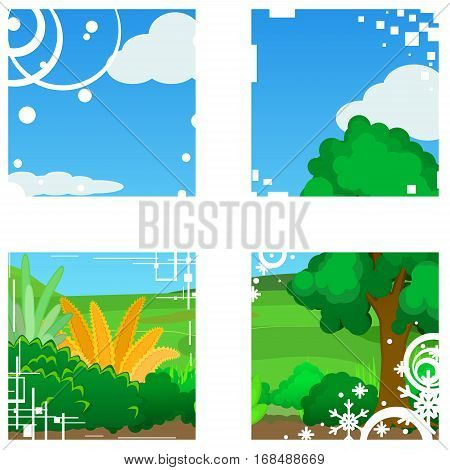 Landscape cartoon nature window abstract, vector illustration, isolated