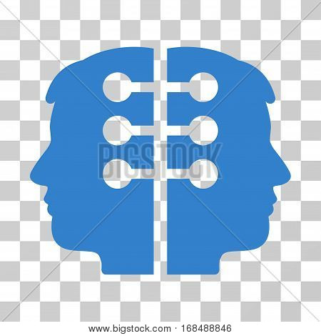 Dual Head Interface icon. Vector illustration style is flat iconic symbol, cobalt color, transparent background. Designed for web and software interfaces.