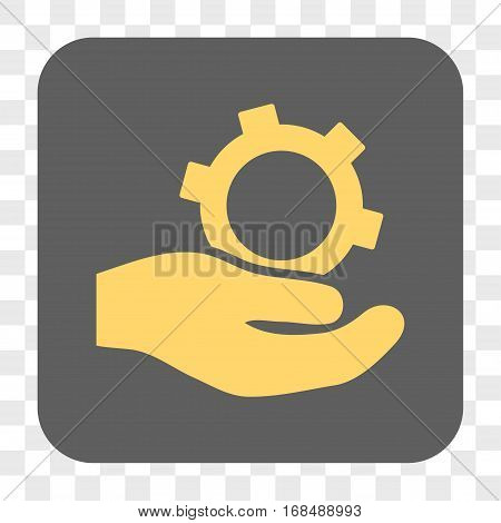 Engineering Service interface toolbar button. Vector icon style is a flat symbol inside a rounded square button yellow and gray colors chess transparent background.