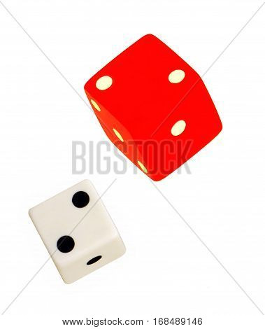 One white and bright red floating dice