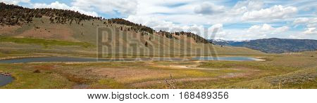 Blacktail Lakes under cirrus lenticular clouds in Yellowstone National Park in Wyoming USA