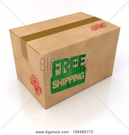 3D rendering Free shipping stamped on  a cardboard box, rendering