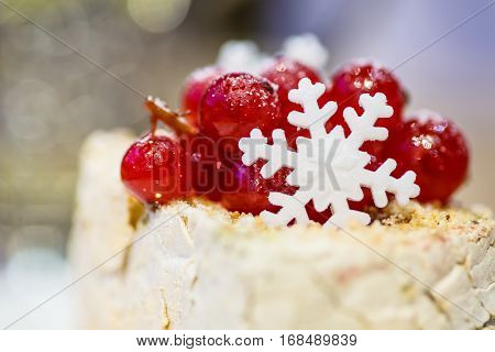 The Decoration On The Dessert Of Red Currant And Snowflakes.