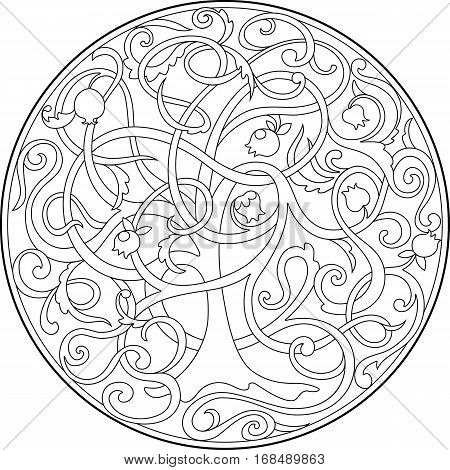 the graphic image of the tree of life with intertwined branches. The pattern in the circle in the style of Zen tangle. Suitable for children and adults coloring pages, t-shirts, packaging.