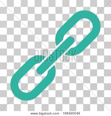 Chain Link icon. Vector illustration style is flat iconic symbol, cyan color, transparent background. Designed for web and software interfaces.