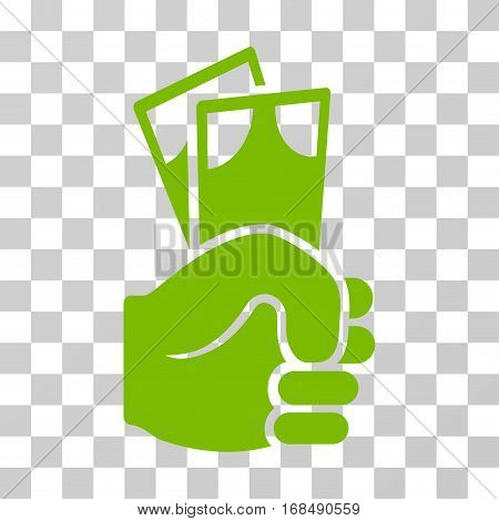 Banknotes Salary Hand icon. Vector illustration style is flat iconic symbol, eco green color, transparent background. Designed for web and software interfaces.
