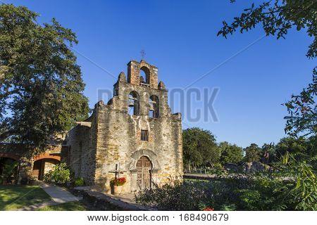 Mission San Juan de Capistrano, chapel and bell-tower. San Antonio, Texas.