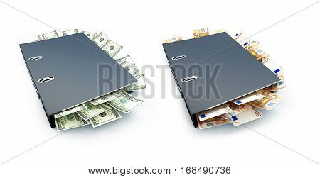 Office folder full of dollars and euro on a white background 3D illustration