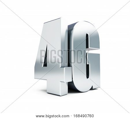 4G metal sign 4G cellular high speed data wireless connection. 3d Illustrations on white background