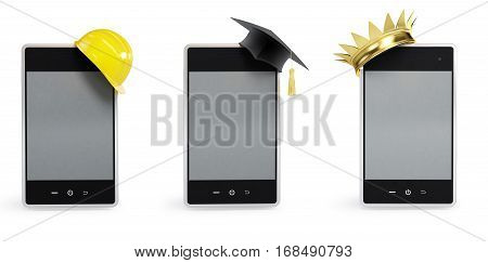 set phone different activities. on a white background 3D illustration