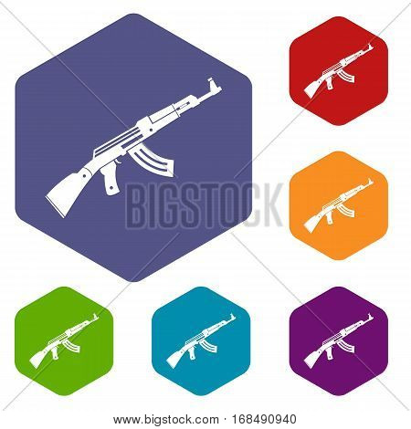 Submachine gun icons set rhombus in different colors isolated on white background