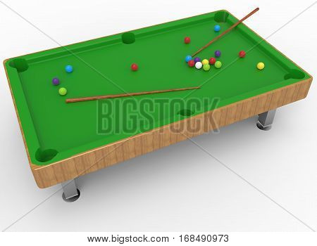 3d illustration of snooker table. white background isolated. icon for game web.