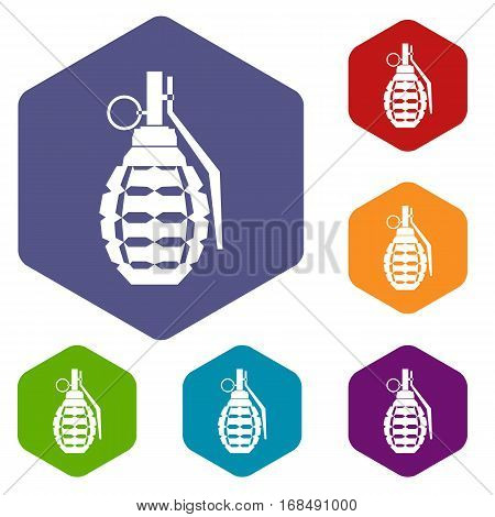 Hand grenade, bomb explosion icons set rhombus in different colors isolated on white background