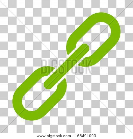 Chain Link icon. Vector illustration style is flat iconic symbol, eco green color, transparent background. Designed for web and software interfaces.