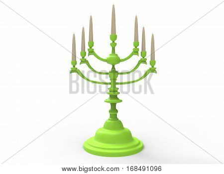 3d illustration of menorah with candles. white background isolated. icon for game web.