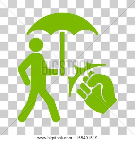 Crime Coverage icon. Vector illustration style is flat iconic symbol, eco green color, transparent background. Designed for web and software interfaces.