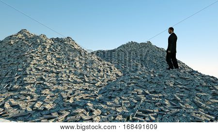 Man and a lot of money. million dollar cash. dollar mountain. Financial concept. 3d rendering