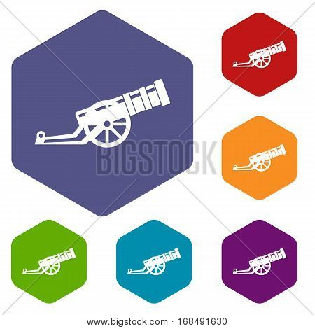 Cannon icons set rhombus in different colors isolated on white background