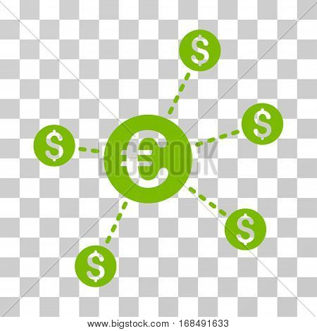 Currency Network Nodes icon. Vector illustration style is flat iconic symbol, eco green color, transparent background. Designed for web and software interfaces.