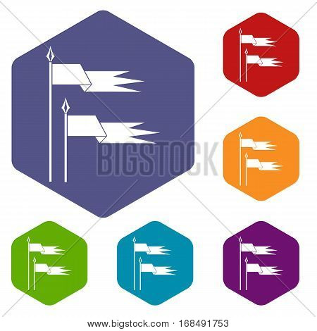 Ancient battle flags icons set rhombus in different colors isolated on white background