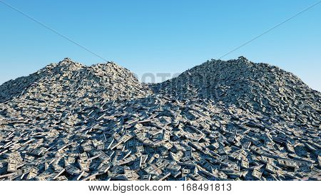 a lot of money. million dollar cash. dollar mountain. Financial concept. 3d rendering