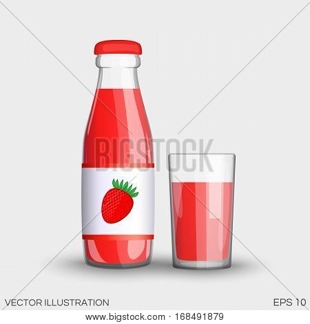 Strawberry Juice In A Transparent Glass Bottle Isolated