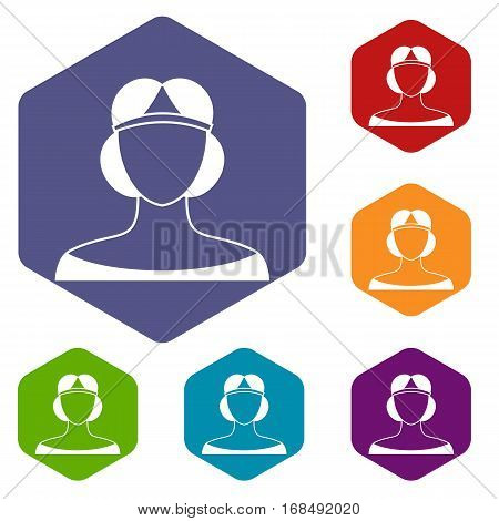 Medieval woman in tiara icons set rhombus in different colors isolated on white background