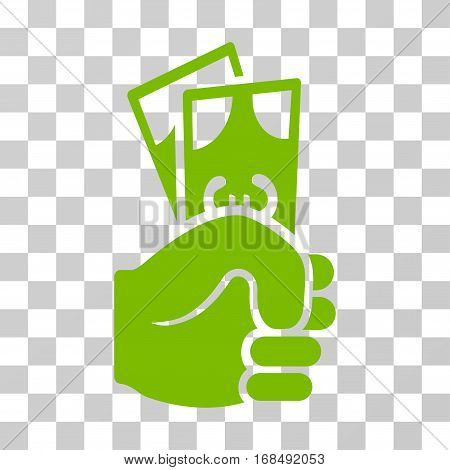 Euro Banknotes Salary icon. Vector illustration style is flat iconic symbol, eco green color, transparent background. Designed for web and software interfaces.