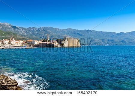 View of the Budva Riviera and old town. Montenegro, Europe