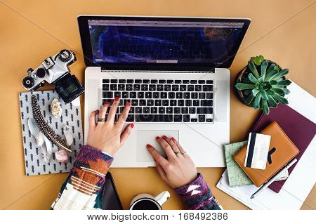 Stylish Laptop Pen Phone And Succulent On Craft Background Girl Hands Holding Coffee,  Planning Vaca