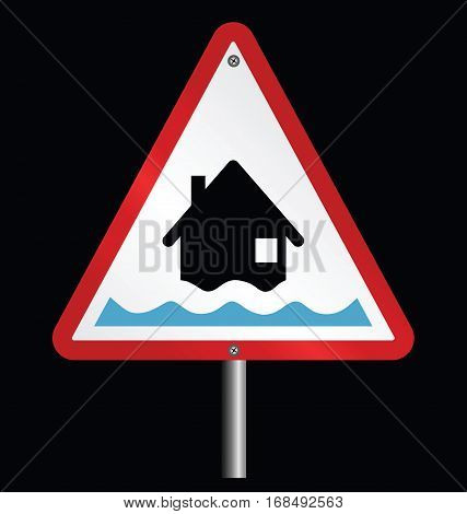 Amber flood alert warning sign fixed to post isolated on black background