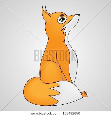 vector illustration cartoon fox cub looking up