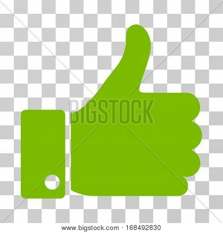 Thumb Up icon. Vector illustration style is flat iconic symbol, eco green color, transparent background. Designed for web and software interfaces.