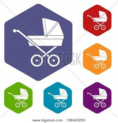 Baby carriage icons set rhombus in different colors isolated on white background