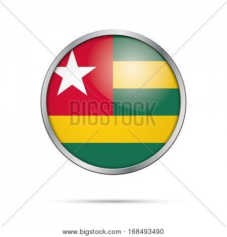 Vector Togolese flag button.Togo flag glass button style with metal frame.