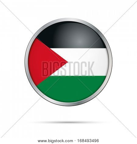 Vector Palestine flag button. Palestine flag in glass button style.