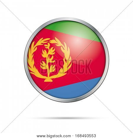 Vector Eritrean flag button. Eritrea flag glass button style with metal frame.
