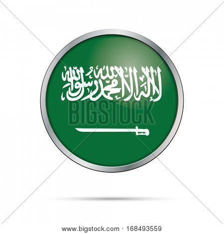 Vector Saudi Arabia flag glass button style with metal frame.